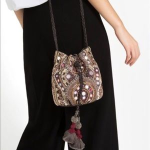 Coolest! Zara Boho beaded bucket Crossbody bag